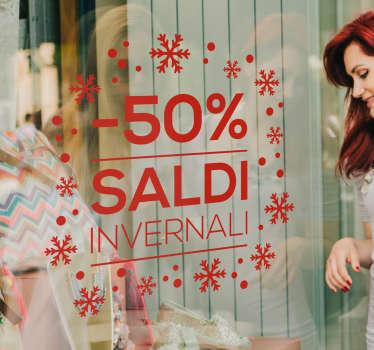 Scritte adesive saldi per negozi con percentuale personalizzabile. Disponibile in dimensioni personalizzabili. Facile da applicare.