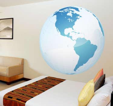 Sticker wereld bol turquoise Amerika