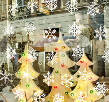 Christmas vinyl decal for business store front window with the design of snowflakes. This design is customisable in different colour options.