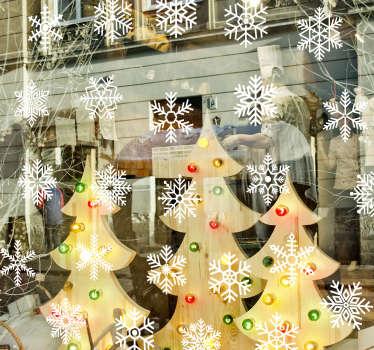Sticker vitrine flocons de neige
