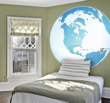 Vinilo globo mapa Polo Norte