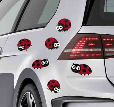 Fantastic car sticker with the design of cute ladybugs. Perfect for any type of vehicles, windows or even walls. Original decoration!