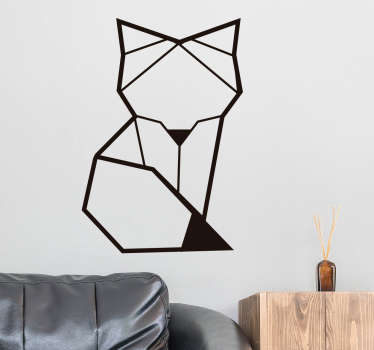 Decorate your child's room with this animal decal with a fox in a geometric shape. Choose the size and the colour of this line wall decor!