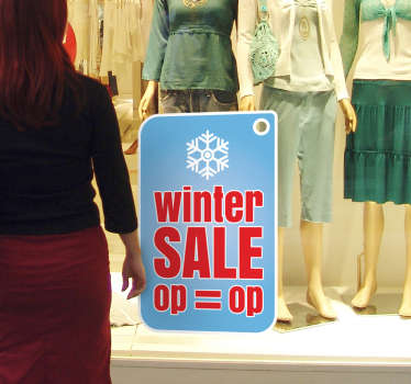 Decorative winter sale vinyl window decal for a business store front. It is self adhesive, easy to apply and available in any size of choice.