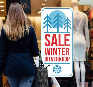 Toon uw winter uitverkoop aan de voorbijgangers van uw winkel met mooie etalage reclamestickers zoals deze vinyl raamsticker.