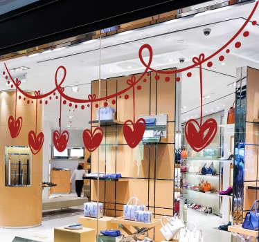 Vinilo escaparate corazones San Valentín