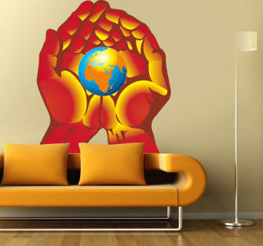 Decorative sticker illustrating warm hands holding planet earth. Excellent decal to decorate any room at home.