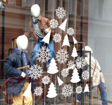 Ikkunatarra joulukuusi ja lumihiutaleet