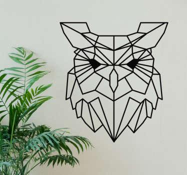 Geometrinen pöllö sisustustarra