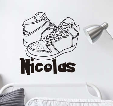 Decorative home wall sticker with the design of sport shoes and it is customisable with any text choice. It application is easy.