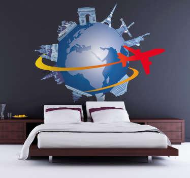 Un sticker mural décoratif illustrant la Terre et les différents grands monuments qui la composent, entourés d'un avion faisant le tour du monde.