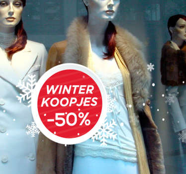 Winkel sticker winter koopjes