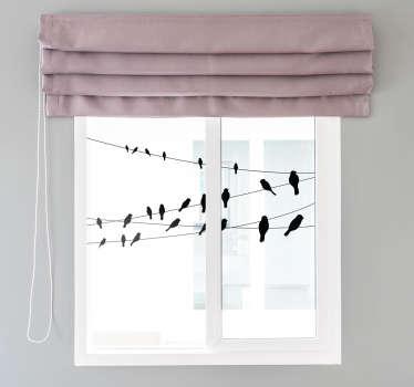 Fugler på et linjevinduetikett