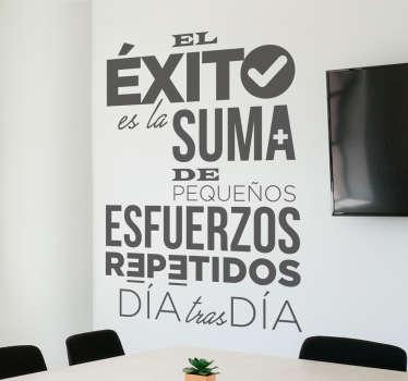 Adhesivo de frases motivadoras trabajo con un diseño moderno, ideal para decorar tu salón o tu despacho.