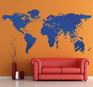Autocollant mural carte monde bleue motifs