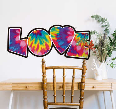 Decorative love text wall sticker designed with the text '' love''. It is an original urban colour design and it size it customisable.