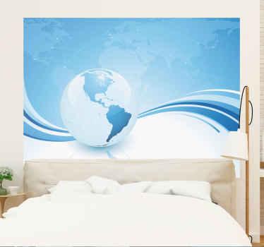 Sticker wereld bol turquoise continenten Amerika