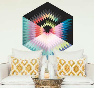 Autocolante decorativo hexagono cores