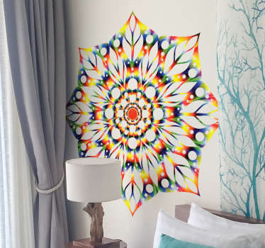 Vibrant tie-dye mandala wall sticker to give a colourful atmosphere to your home decor. Embrace the beautiful colours in your bedroom!