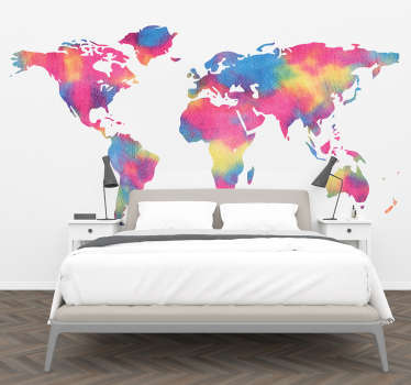 Silhouette world map wall sticker with a tie dye colour background. It is self adhesive and the size is available in any size needed.