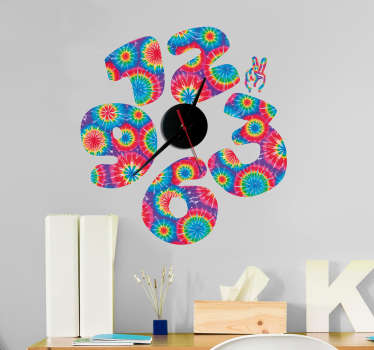Wall clock sticker designed with multicolored numbers  to decorate any flat space of choice. It is self adhesive and available in any size needed.