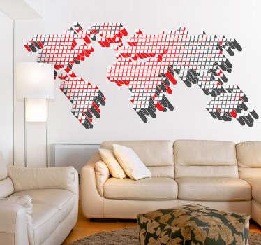 Autocollant mural carte monde cubes 3d
