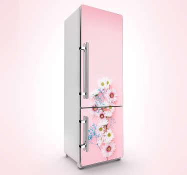 Naklejka na lodówkę różowe wiosenne kwiaty