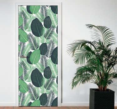 Naklejka na drzwi zielone egzotyczne liście