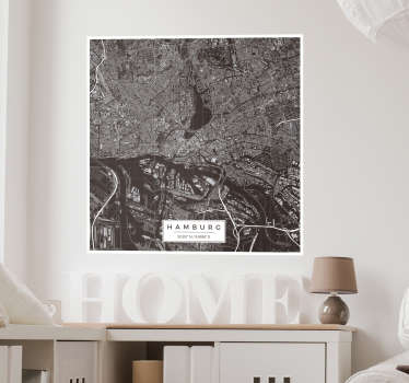 Decorative wall sticker with the design of  Hamburg map  to decorate any space of choice. It is easy to apply and self adhesive.