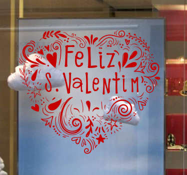 Autocolante decorativo montras Feliz S. Valentim