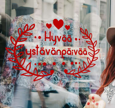 Ikkunatarra Hyvää ystävänpäivää. Ihana tekstitarra ystävänpäivän koristeeksi, jossa on sydämiä ja muita kauniita koristekuvioita.