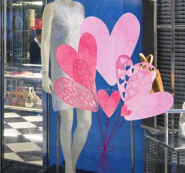 Naklejka na szkło pęk różowych balonów
