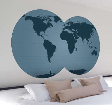 Blue World Map with Double Globe Sticker
