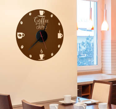 "Amazing clock wall sticker with a text ""coffee time"" will remind you there is always time for coffee. It can be used in a coffeeshop and in your home!"