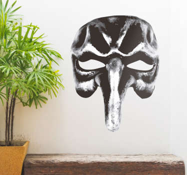 Decorative pulcinella character mask wall art sticker to decorate any wall space of choice. The design is available in any size needed.