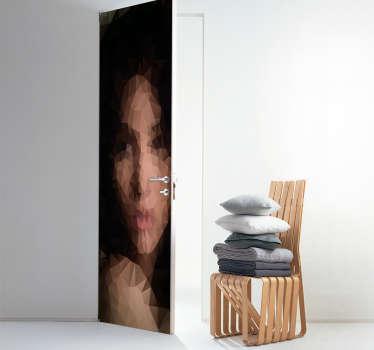Adesivo poligonale donna per porta