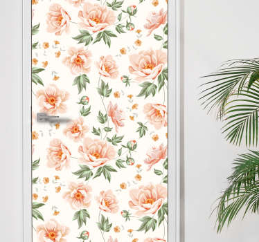 Decorative flower plant print door sticker to decorate door space. It is available in any dimension needed to cover a door surface.