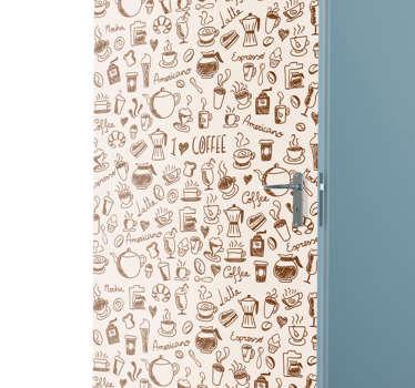 Adesivo per porta con disegni di caffè