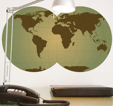 Sticker of the world with double globe. Decorate your home and transform it with this wonderful decal.