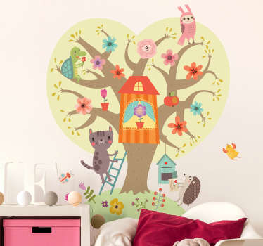 This colourful tree and animal wall sticker consists of a tree with flowers in which many animals sit. It immediatly brings joy and love to the room!