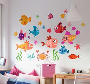Naklejka na ścianę kolorowe, wesołe rybki