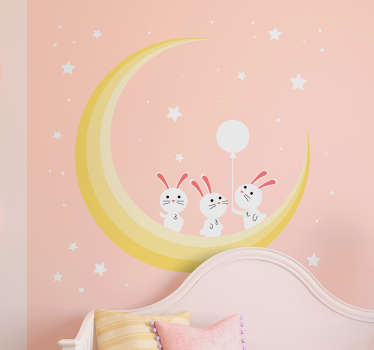 Stars baby room illustration sticker with the design of three cute mouse sitting on a a half moon in space. It is self adhesive and easy to apply.