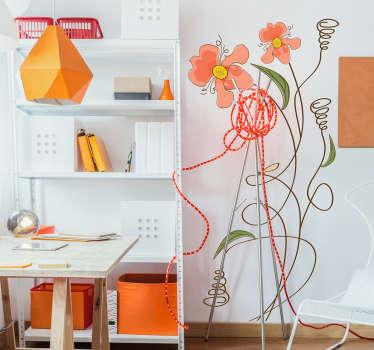 Naklejka na ścianę zakręcone kwiaty