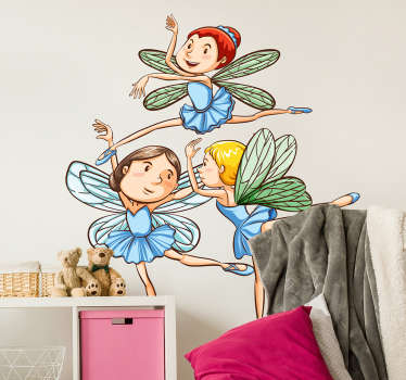 Child fairies fantasy wall sticker to decorate the bedroom space of kids. It is featured with baby fairies dancing. We have it in any size needed.