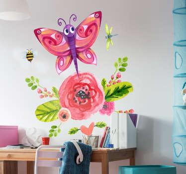 Naklejka na ścianę kwiat i motyl