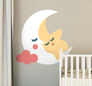 あなたの子供の寝室のためのこのかわいい月と星を描く壁のステッカーは、母親の腕の中で子供として、月の腕の中で眠っている星を表しています