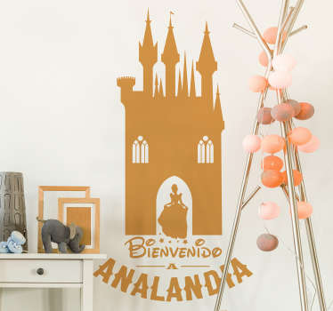 декоративная персонализированная детская настенная художественная наклейка с дизайном сказочного дома и девочки. это доступно в различных размерах.
