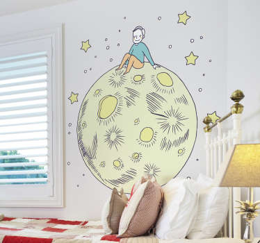 Buy our original decorative children wall art sticker designed with a colorful big full moon with stars and a kid sitting on it surface.