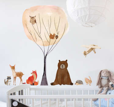 Decorative wild animal wall sticker with features of different animals to decorate the bedroom space of kids and infant.