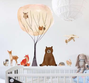 Naklejka dla dzieci drzewo i leśne zwierzątka